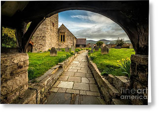 Vale Greeting Cards - Church Entrance Greeting Card by Adrian Evans