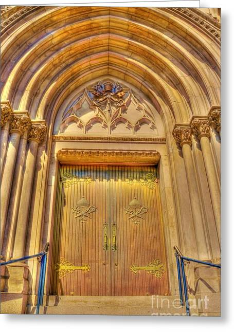 City Art Greeting Cards - Church Entrance Greeting Card by Kathleen Struckle