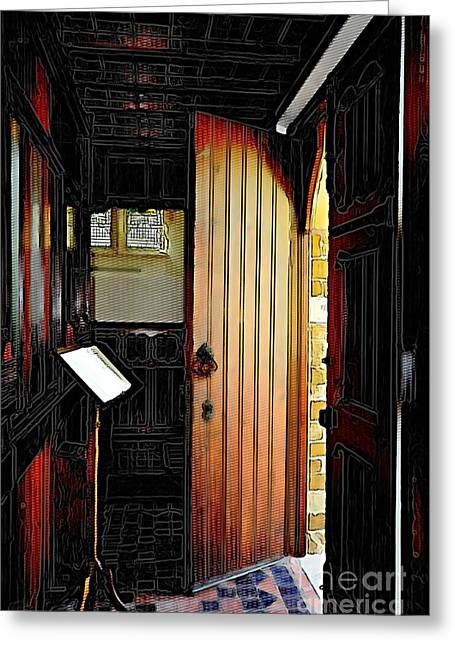 Crosshatching Greeting Cards - Church Entrance Greeting Card by Liane Wright