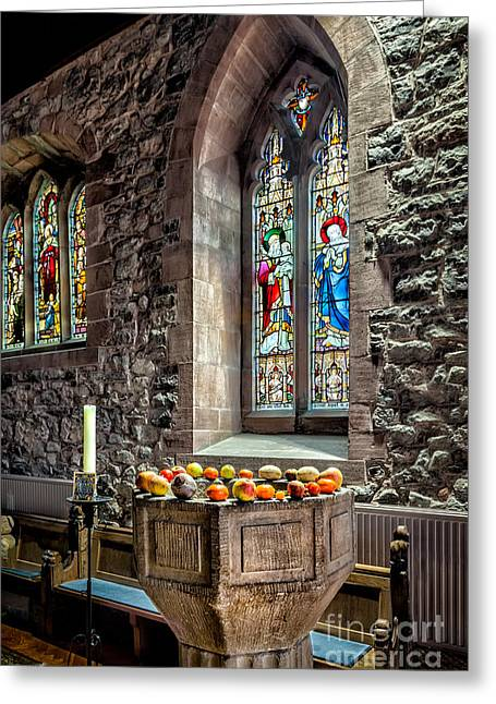 Candle Holder Greeting Cards - Church Fruits Greeting Card by Adrian Evans