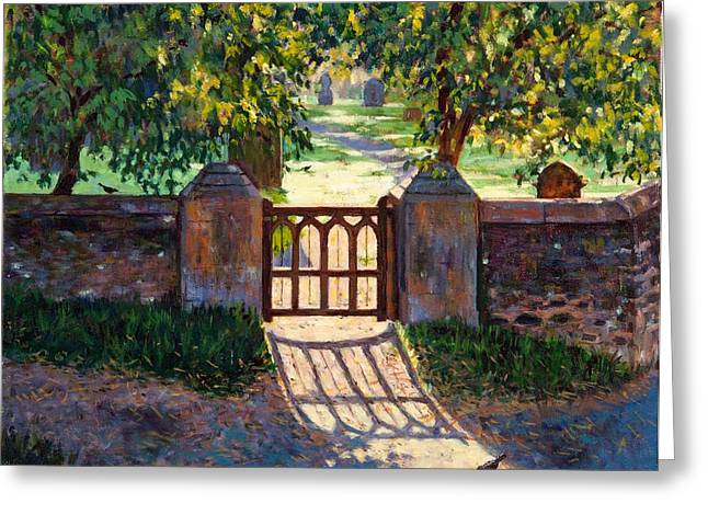 Dappled Light Greeting Cards - Church Gate, 2012 Oil On Canvas Greeting Card by Tilly Willis