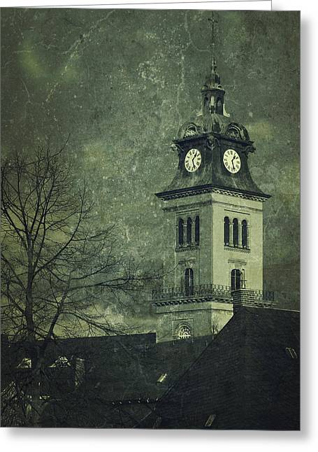 Steeple Mixed Media Greeting Cards - Church In Saxony Greeting Card by Heike Hultsch