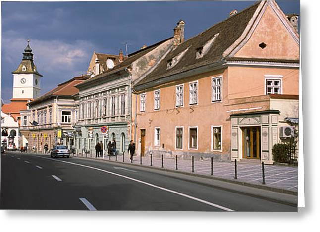 Romania Greeting Cards - Church In A City, Black Church, Brasov Greeting Card by Panoramic Images