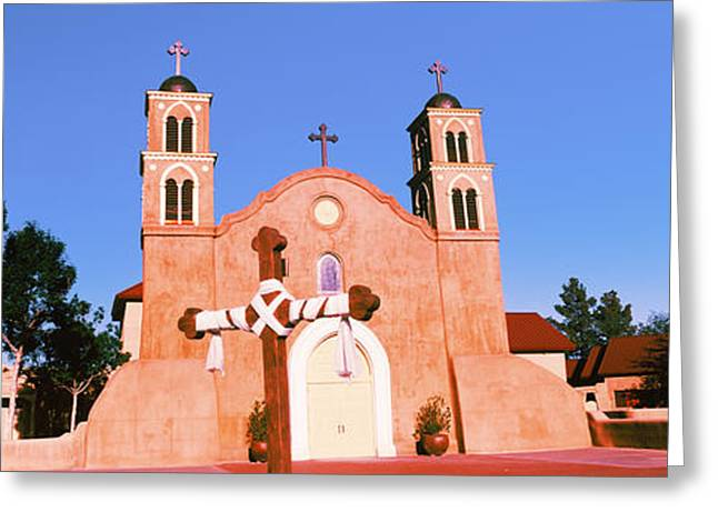 Crucifix Greeting Cards - Church In A City, San Miguel Mission Greeting Card by Panoramic Images