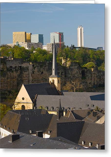 Luxembourg Greeting Cards - Church In A City, St. Jean Du Grund Greeting Card by Panoramic Images