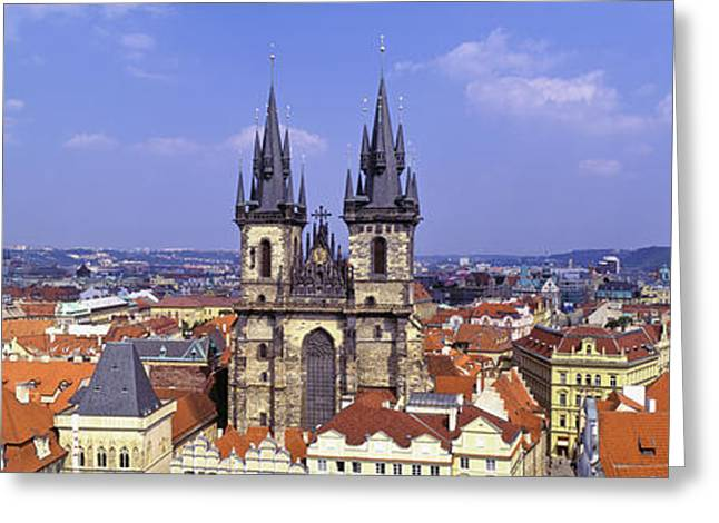 Mediterranean Series Greeting Cards - Church In A City, Tyn Church, Prague Greeting Card by Panoramic Images