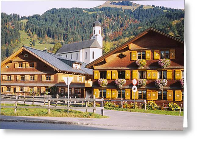 House Gable Greeting Cards - Church In A Village, Bregenzerwald Greeting Card by Panoramic Images