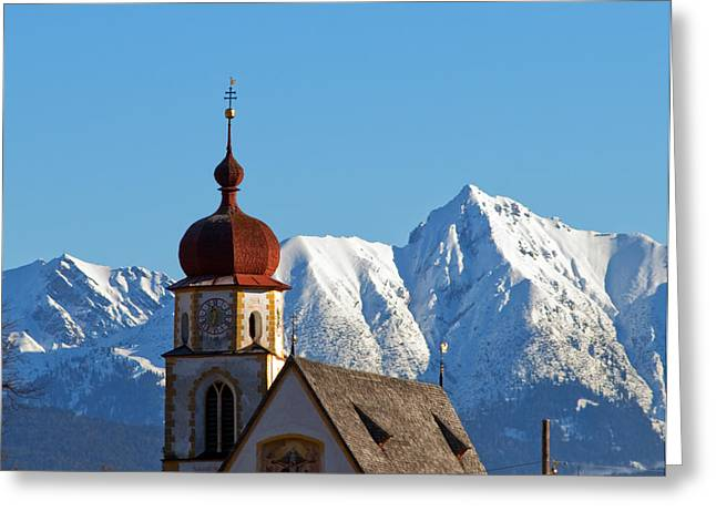 Snowy Day Greeting Cards - Church in alipine scenery Greeting Card by Michal Bednarek