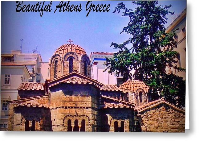 Europe Mixed Media Greeting Cards - Church in Beautiful Athens Greeting Card by John Malone