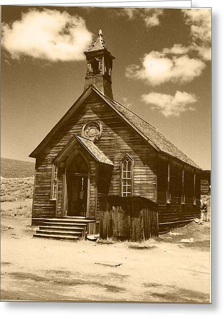 Mining Photos Greeting Cards - Church in Bodie 2 Greeting Card by Lorna Kay