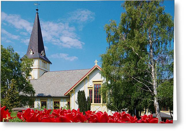 Wooden Building Greeting Cards - Church in Grimstad Greeting Card by Ildi Papp