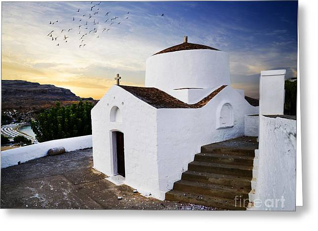 Summer Landscape Pyrography Greeting Cards - Church in Lindos Rhodes Greeting Card by Jelena Jovanovic