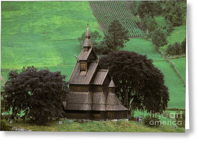 Norwegian Landscape Greeting Cards - Church In Norway Greeting Card by Ron Sanford