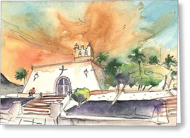 Playa Blanca Greeting Cards - Church in Playa Blanca in Lanzarote Greeting Card by Miki De Goodaboom