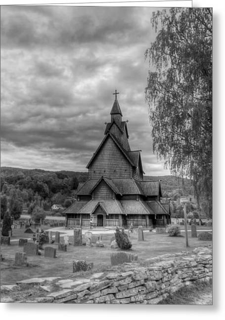 Headstones Greeting Cards - Church in Rural Norway Greeting Card by Mountain Dreams