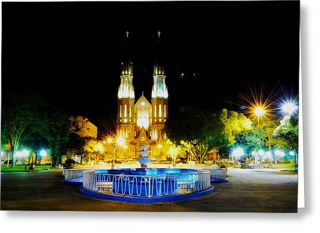 Santa Cruz Light Greeting Cards - Church in Santa Cruz do Sul in Brazil Greeting Card by Mountain Dreams