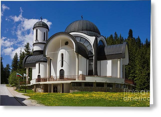 Ski Hill Greeting Cards - Church in Ski Resort Pamporovo Greeting Card by Kiril Stanchev