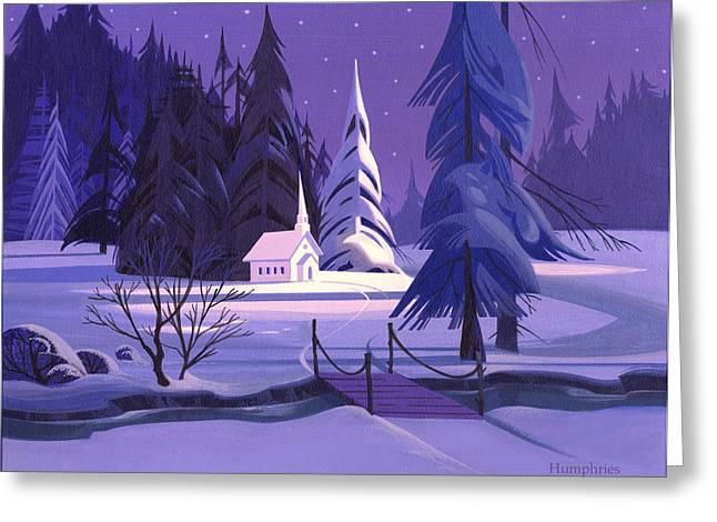 Winter Landscape Paintings Greeting Cards - Church In Snow Greeting Card by Michael Humphries