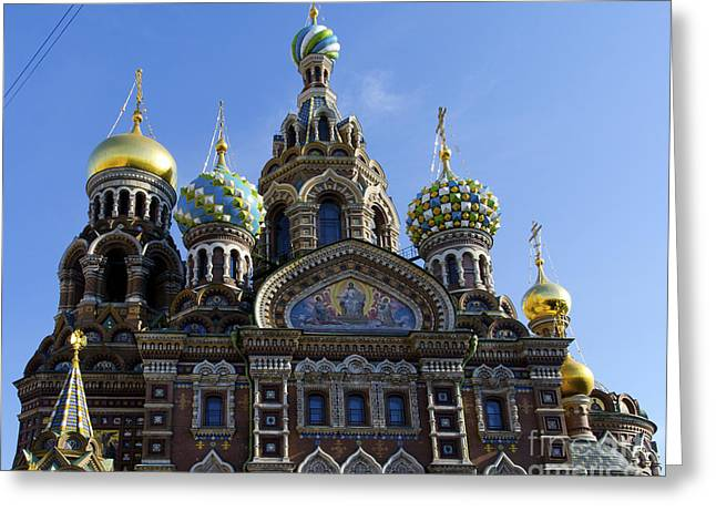 Church On Spilled Blood Greeting Cards - Church in St Petersburg Greeting Card by Pravine Chester