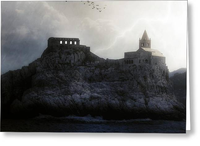 Thunderstorm Greeting Cards - Church In Storm Greeting Card by Joana Kruse