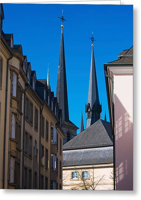 Luxembourg Greeting Cards - Church In The City, Notre Dame Greeting Card by Panoramic Images
