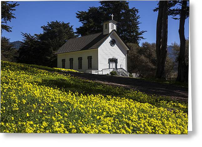 Church in the clover Greeting Card by Garry Gay