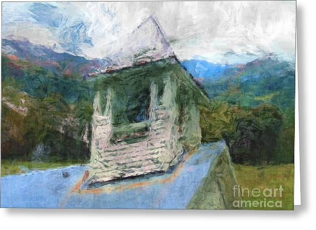 Steeple Mixed Media Greeting Cards - Church In The Mountains Greeting Card by Phil Perkins
