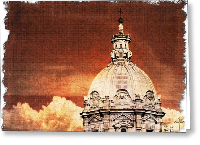 Southern Province Greeting Cards - Church  in the Rome skyline Greeting Card by Stefano Senise