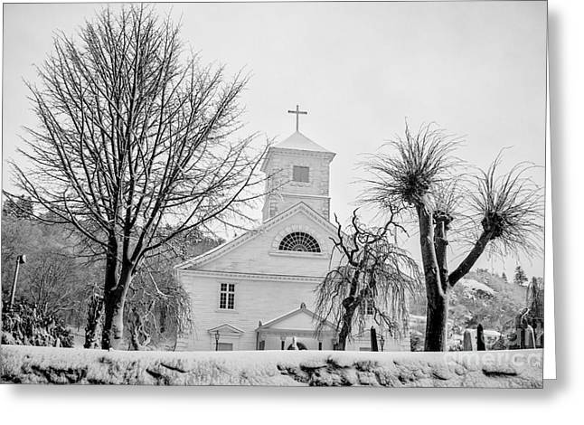 Mandal Greeting Cards - Church in the snow Greeting Card by Mirra Photography