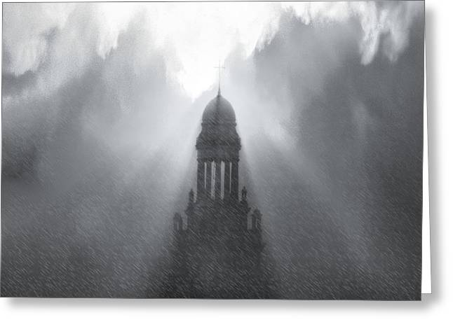 I Write Greeting Cards - Church in The Storm Greeting Card by Kellice Swaggerty