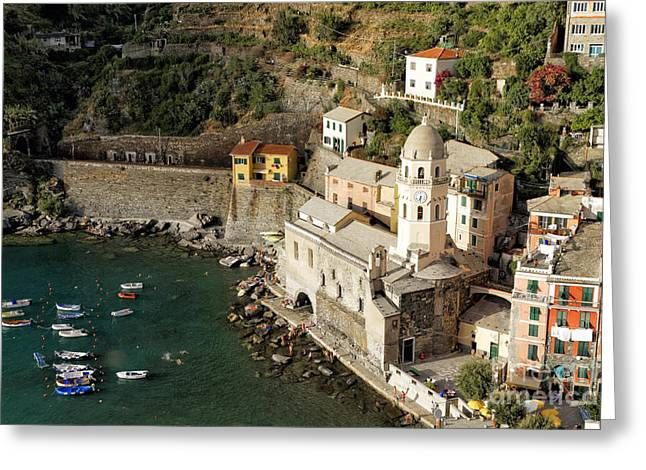 Margherita Greeting Cards - Church in Vernazza  Greeting Card by George Oze