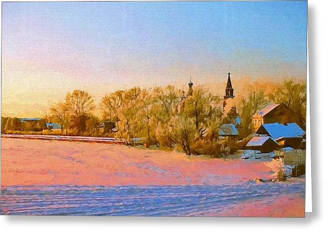 Jesus Christ Icon Greeting Cards - Church in Winter 2 Greeting Card by Yury Malkov