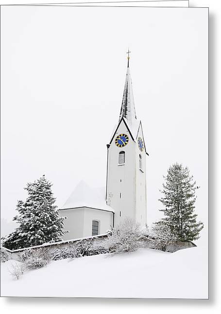 Snow-covered Landscape Photographs Greeting Cards - Church in winter Greeting Card by Matthias Hauser