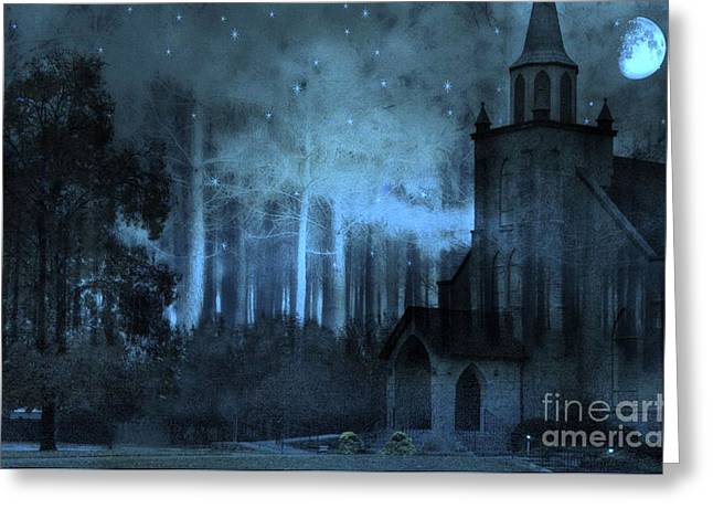 Church In Woods Starry Full Moon Night Greeting Card by Kathy Fornal