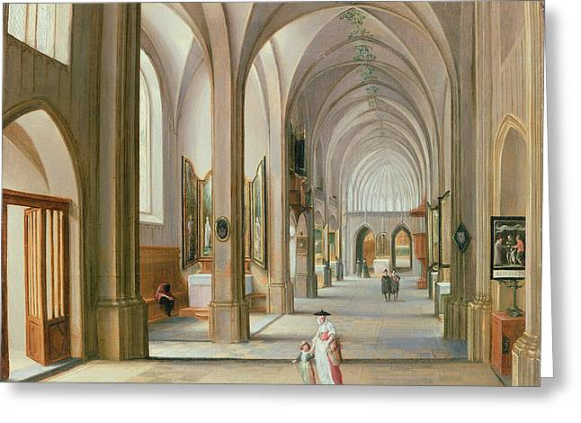 Ecclesiastical Architecture Greeting Cards - Church Interior Greeting Card by Hendrik van Steenwyck
