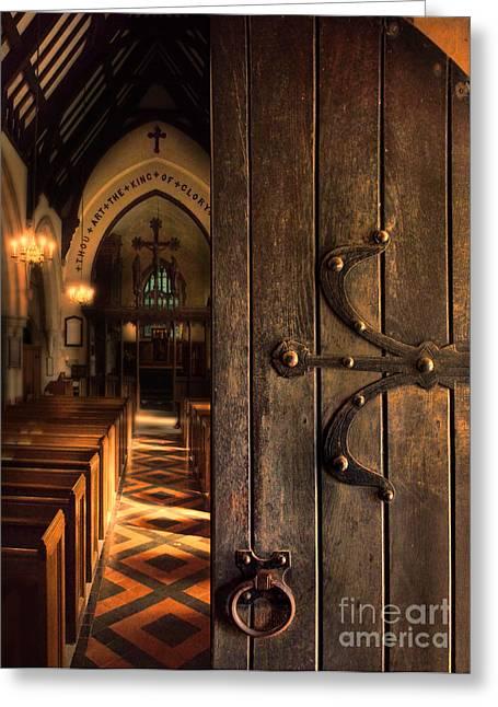 Medieval Entrance Greeting Cards - Church Interior Greeting Card by Jill Battaglia