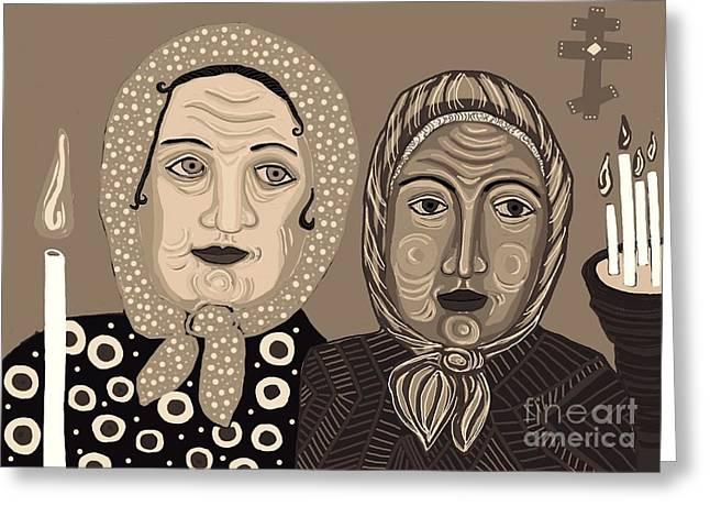Holy Week Greeting Cards - Church Ladies 2 Greeting Card by Sarah Loft