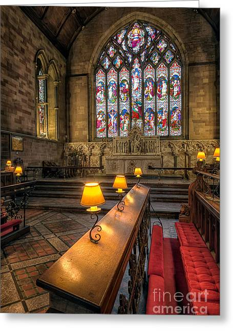 Cathedral Window Greeting Cards - Church Lamps Greeting Card by Adrian Evans