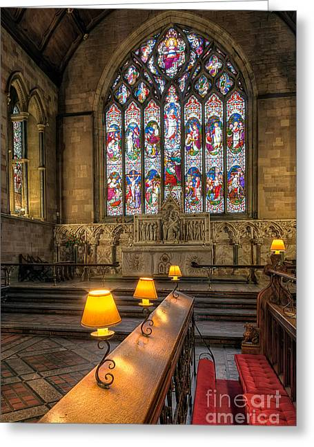 Vaulted Ceilings Greeting Cards - Church Lamps v2 Greeting Card by Adrian Evans