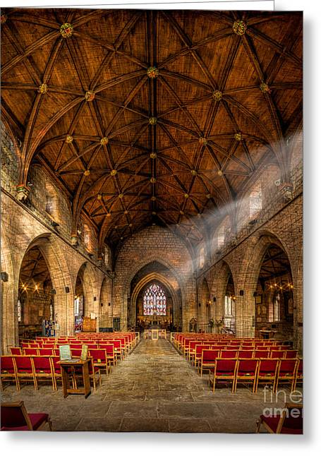 Vaulted Ceilings Greeting Cards - Church Light Greeting Card by Adrian Evans