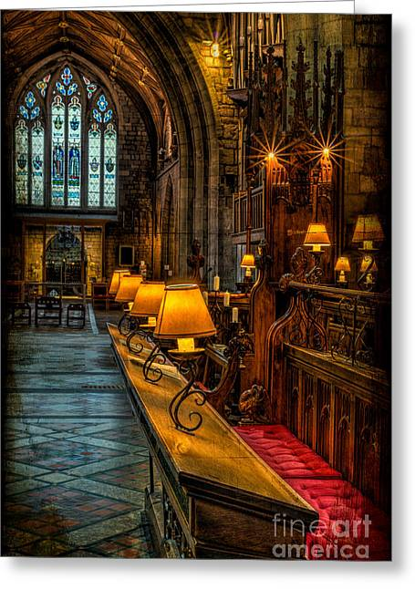 Window Panes Greeting Cards - Church Lights Greeting Card by Adrian Evans