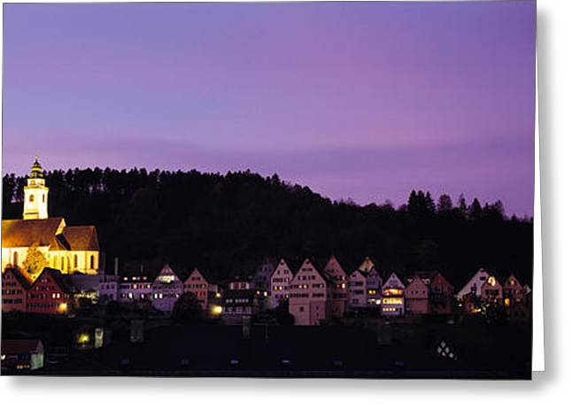 Pinus Greeting Cards - Church Lit Up At Dusk In A Town, Horb Greeting Card by Panoramic Images