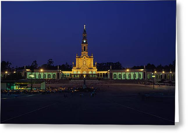 Fatima Greeting Cards - Church Lit Up At Night, Our Lady Of Greeting Card by Panoramic Images