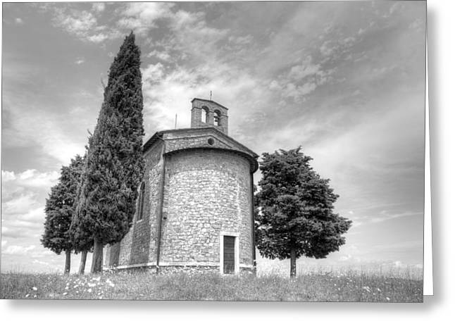 Yellow Line Pyrography Greeting Cards - Church Madonna di Vitaleta in Tuscany Val dOrcia Greeting Card by Tommaso De Pilla