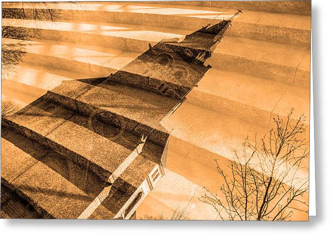 Streetlight Greeting Cards - Church Mixed With Staircase Greeting Card by Toppart Sweden