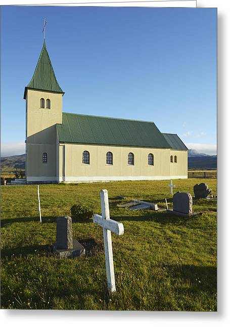 Place Of Burial Greeting Cards - Church Of Faskrudarbakki Greeting Card by Michael Thornton