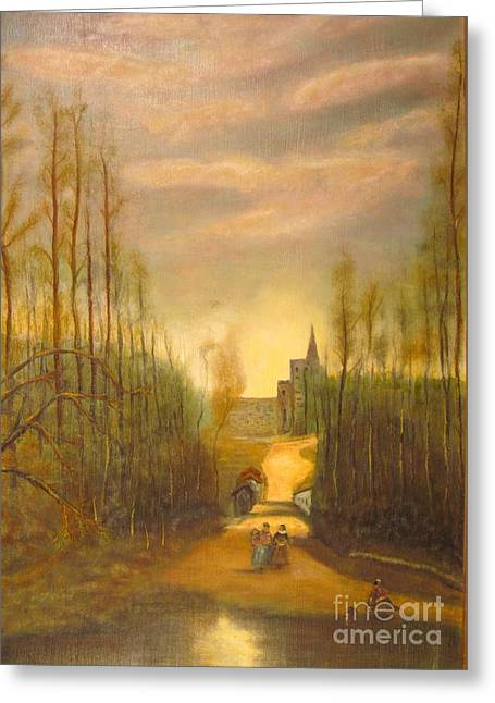 Trees Greeting Cards - Church of Mariselle by Corot  Greeting Card by Anthony Morretta
