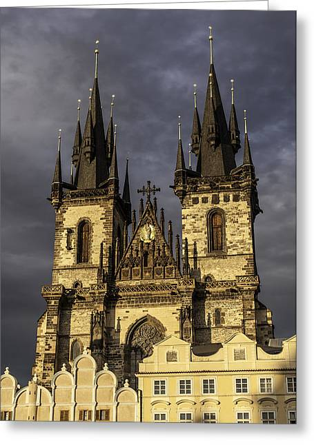 Medieval Temple Greeting Cards - Church of Mother of God. Prague. Greeting Card by Fernando Barozza
