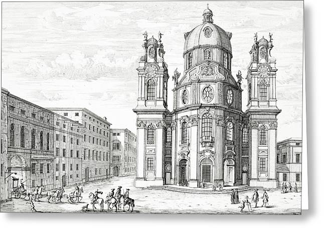 Baroque Greeting Cards - Church Of Notre Dame, Salzburg Greeting Card by Johann Bernhard Fischer von Erlach