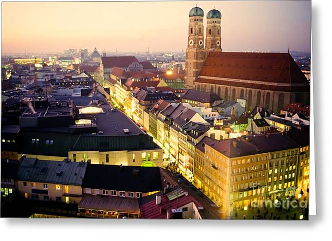 Marienplatz Greeting Cards - Church of our Dear Lady in Munich at dusk Greeting Card by Stephan Pietzko